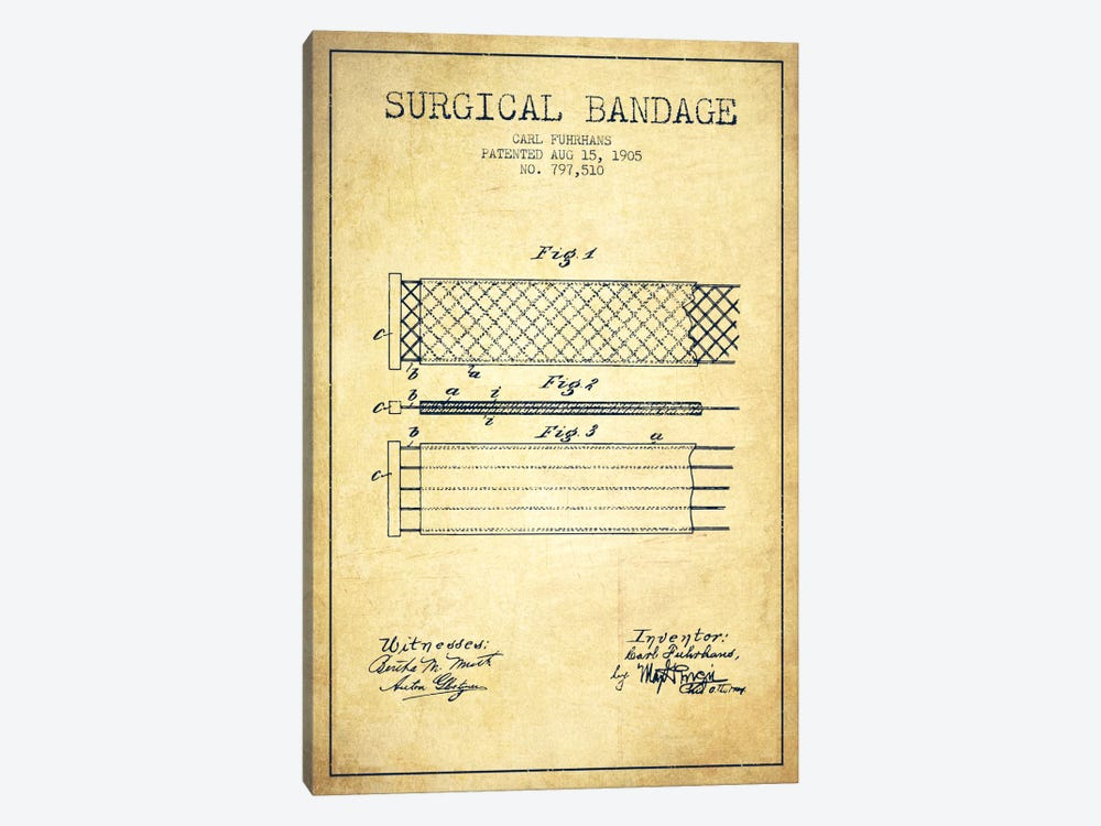 Surgical Bandage 2 Vintage Patent Blueprint by Aged Pixel 1-piece Canvas Art