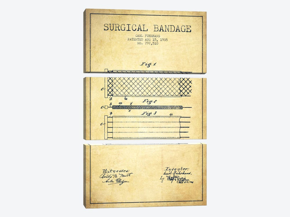 Surgical Bandage 2 Vintage Patent Blueprint by Aged Pixel 3-piece Canvas Wall Art