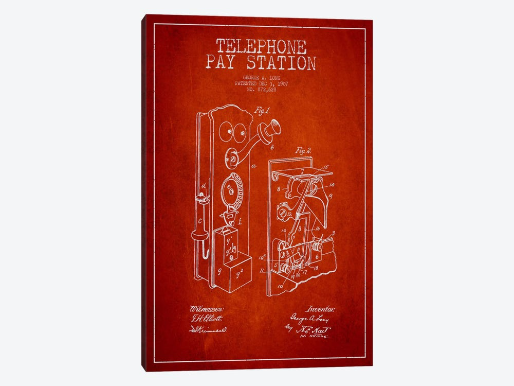 Long Telephone Red Patent Blueprint by Aged Pixel 1-piece Art Print