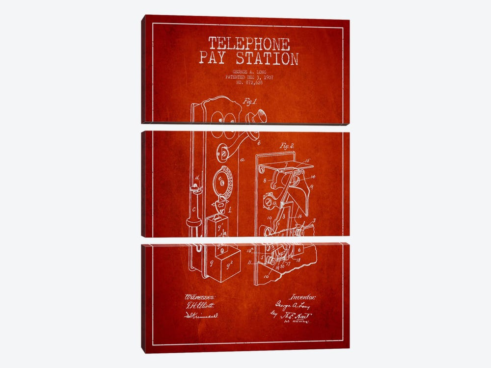Long Telephone Red Patent Blueprint by Aged Pixel 3-piece Canvas Art Print