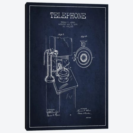 Ahern Telephone Blue Patent Blueprint Canvas Print #ADP1} by Aged Pixel Canvas Print