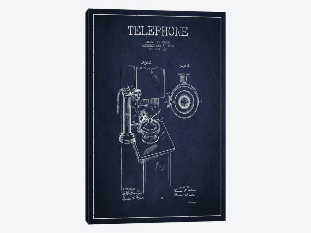 Ahern Telephone Blue Patent Blueprint by Aged Pixel 1-piece Canvas Art Print