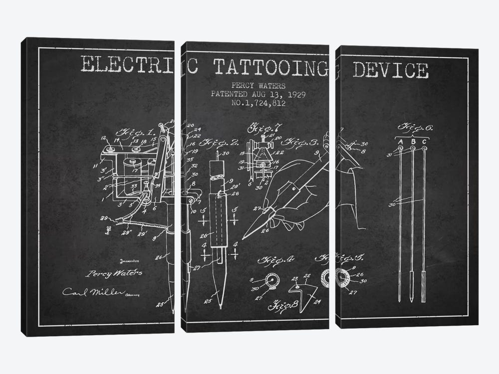 Tattoo Device Charcoal Patent Blueprint by Aged Pixel 3-piece Canvas Art