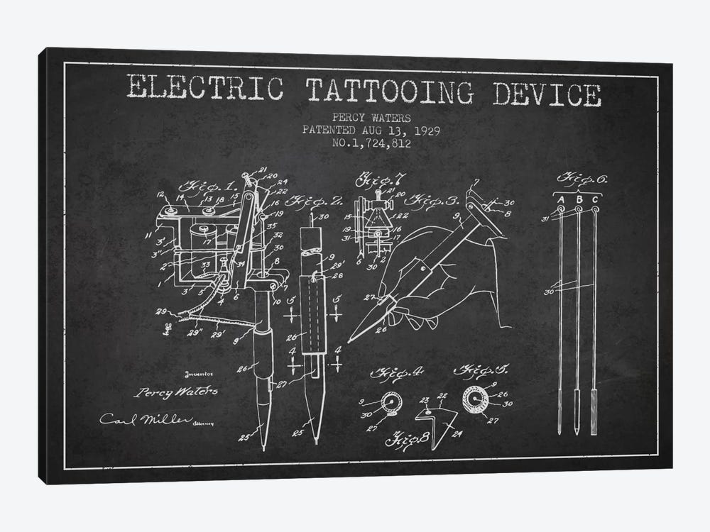 Tattoo Device Charcoal Patent Blueprint by Aged Pixel 1-piece Canvas Art