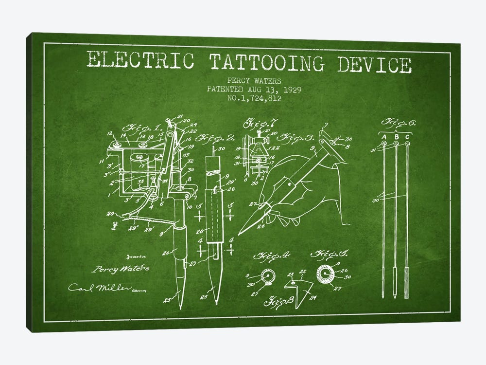Tattoo Device Green Patent Blueprint by Aged Pixel 1-piece Art Print