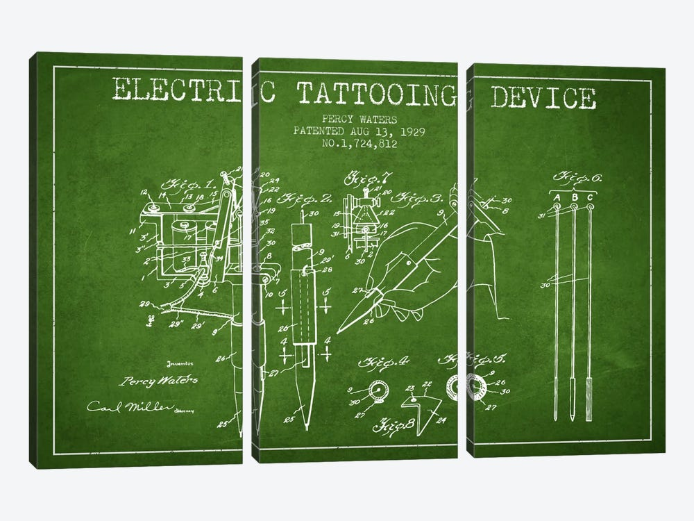 Tattoo Device Green Patent Blueprint by Aged Pixel 3-piece Canvas Art Print