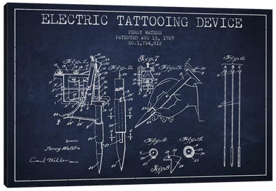 Tattoo Device Navy Blue Patent Blueprint Canvas Art Print