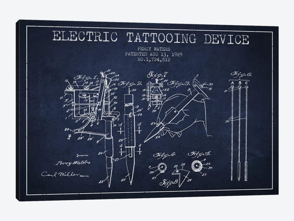 Tattoo Device Navy Blue Patent Blueprint by Aged Pixel 1-piece Canvas Art