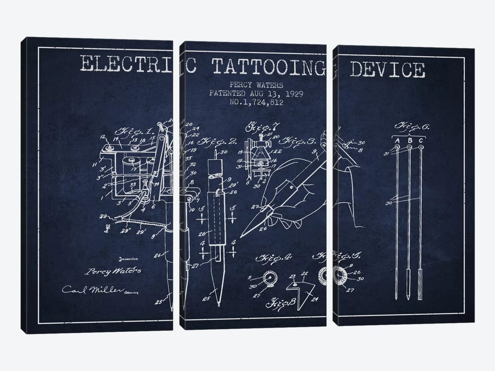 Tattoo Device Navy Blue Patent Blueprint by Aged Pixel 3-piece Canvas Art