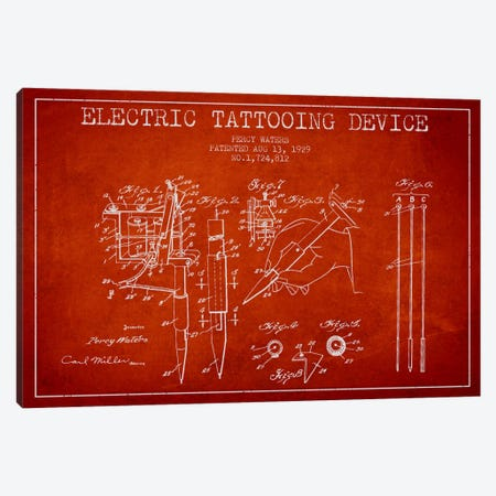 Tattoo Device Red Patent Blueprint Canvas Print #ADP2003} by Aged Pixel Canvas Wall Art