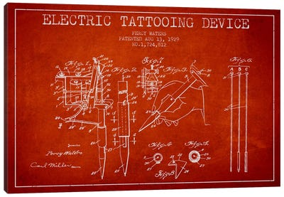Tattoo Device Red Patent Blueprint Canvas Art Print