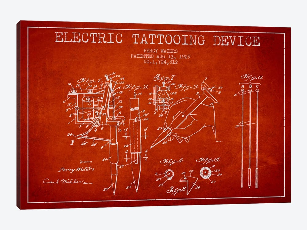 Tattoo Device Red Patent Blueprint by Aged Pixel 1-piece Art Print