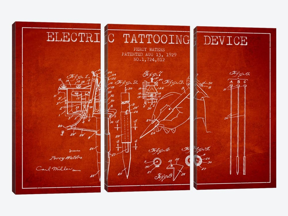Tattoo Device Red Patent Blueprint by Aged Pixel 3-piece Canvas Art Print
