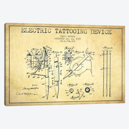 Tattoo Device Vintage Patent Blueprint Canvas Print #ADP2004} by Aged Pixel Art Print