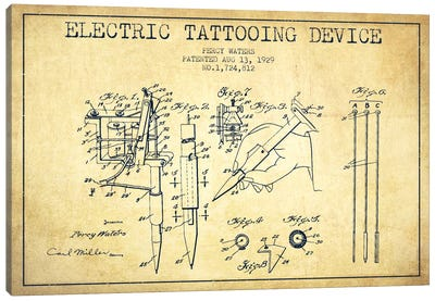 Tattoo Device Vintage Patent Blueprint Canvas Art Print