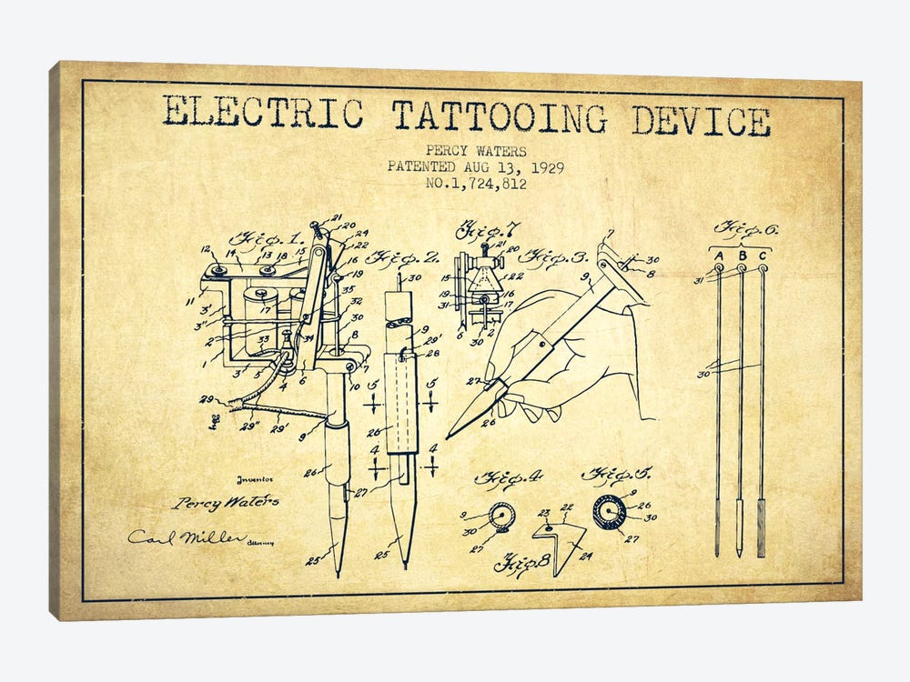 Tattoo Device Vintage Patent Blueprint by Aged Pixel 1-piece Canvas Artwork