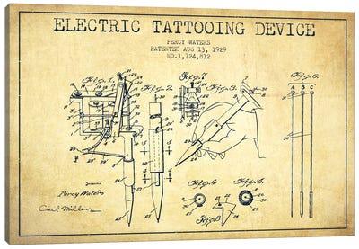 Tattoo Device Vintage Patent Blueprint Canvas Art Print