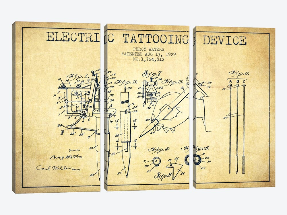 Tattoo Device Vintage Patent Blueprint by Aged Pixel 3-piece Canvas Wall Art
