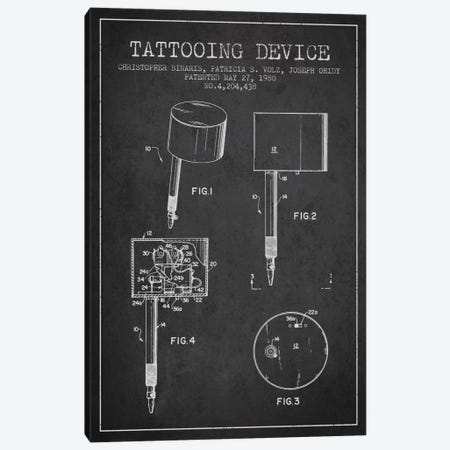 Tattoo Device Charcoal Patent Blueprint Canvas Print #ADP2005} by Aged Pixel Art Print