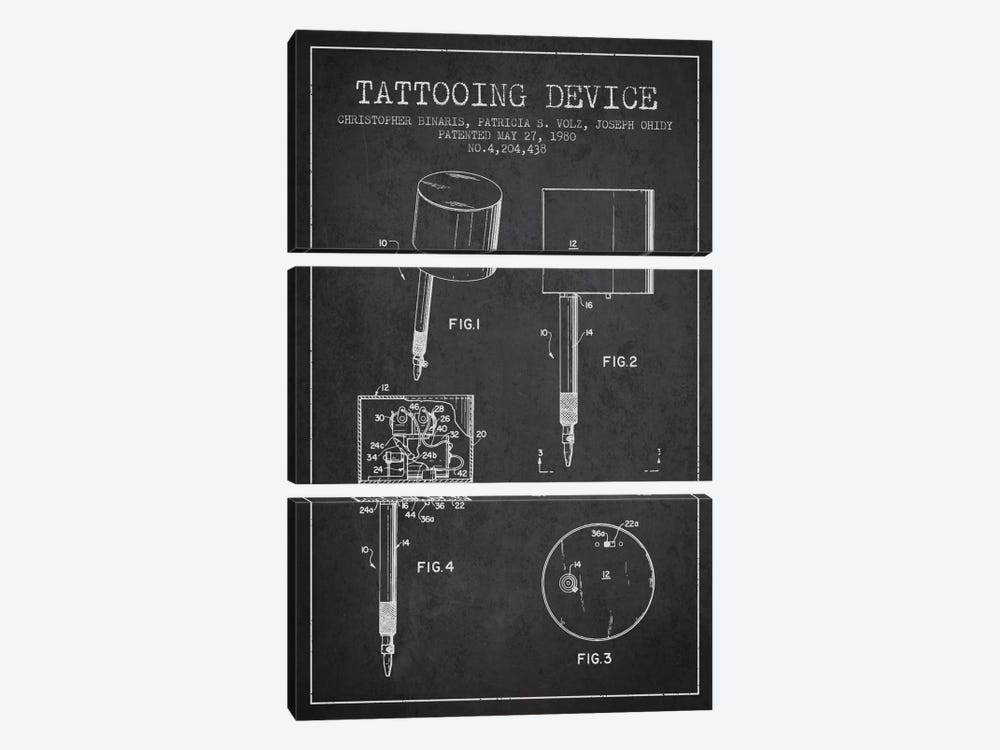 Tattoo Device Charcoal Patent Blueprint by Aged Pixel 3-piece Canvas Print