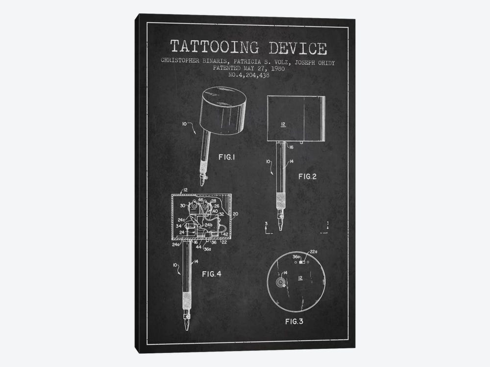 Tattoo Device Charcoal Patent Blueprint by Aged Pixel 1-piece Canvas Print