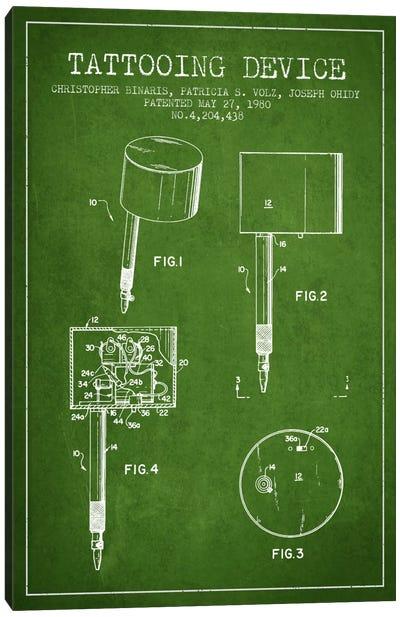 Tattoo Device 2 Green Patent Blueprint Canvas Print #ADP2006