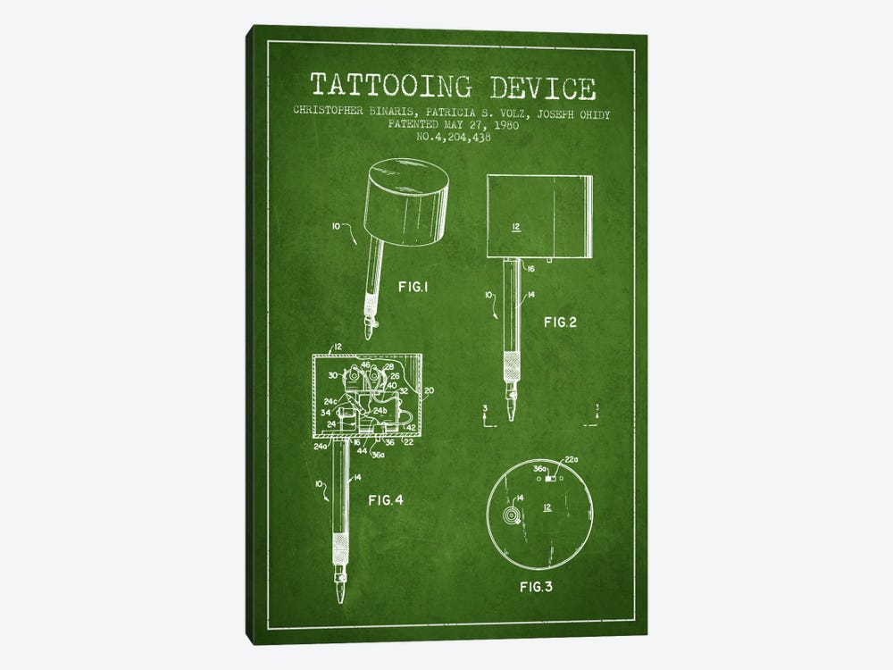 Tattoo Device 2 Green Patent Blueprint by Aged Pixel 1-piece Canvas Wall Art