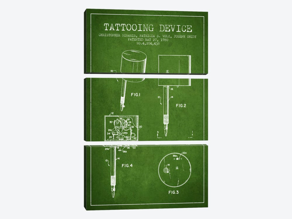 Tattoo Device 2 Green Patent Blueprint by Aged Pixel 3-piece Canvas Wall Art