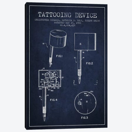 Tattoo Device 2 Navy Blue Patent Blueprint Canvas Print #ADP2007} by Aged Pixel Canvas Print