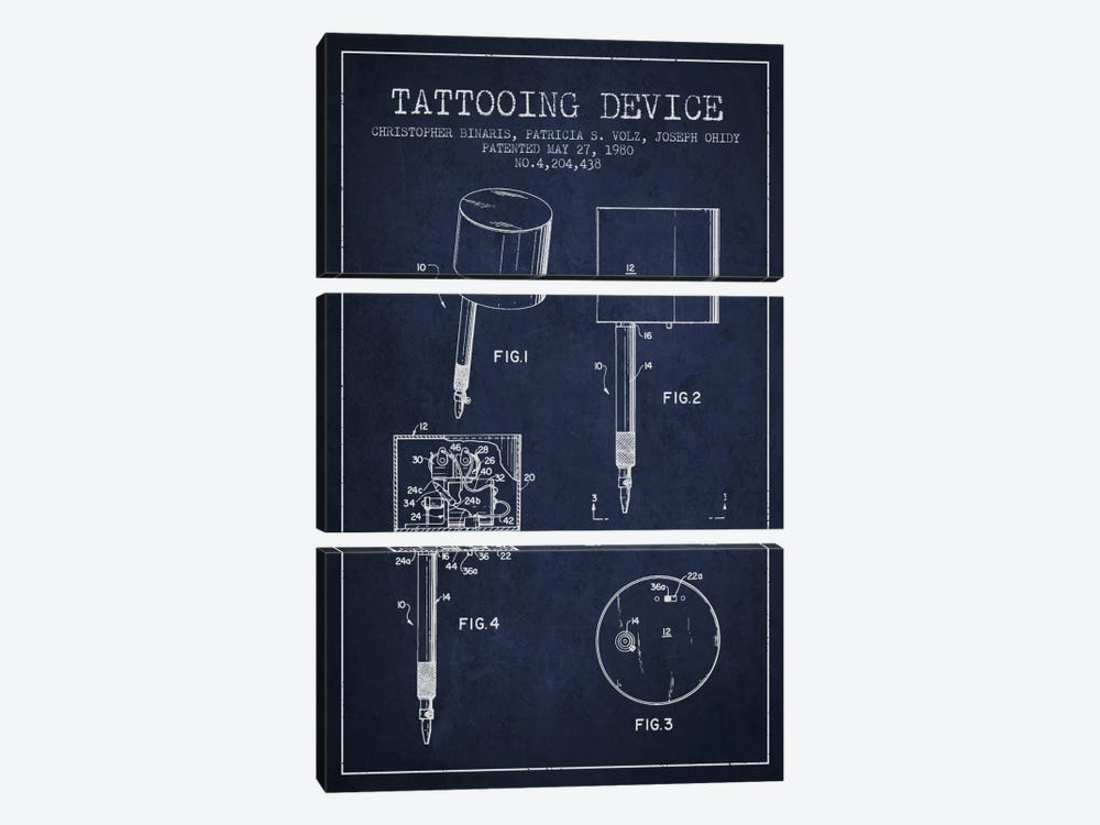 Tattoo Device 2 Navy Blue Patent Blueprint by Aged Pixel 3-piece Canvas Print