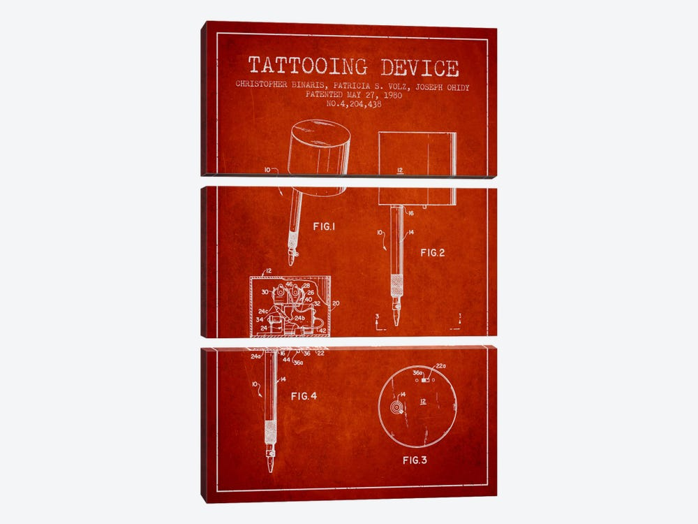 Tattoo Device 2 Red Patent Blueprint by Aged Pixel 3-piece Canvas Wall Art
