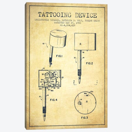 Tattoo Device 2 Vintage Patent Blueprint Canvas Print #ADP2009} by Aged Pixel Canvas Wall Art