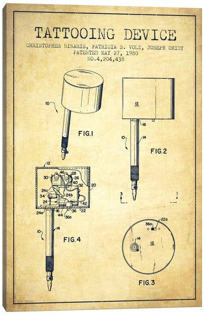 Tattoo Device 2 Vintage Patent Blueprint Canvas Print #ADP2009