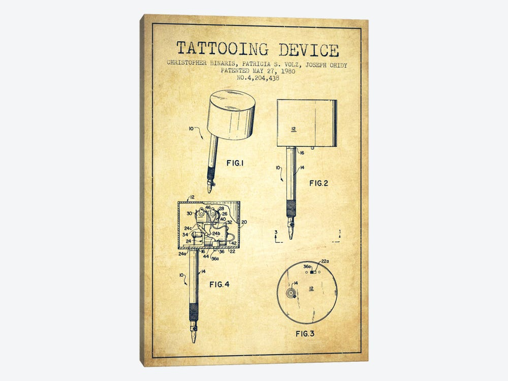 Tattoo Device 2 Vintage Patent Blueprint by Aged Pixel 1-piece Art Print