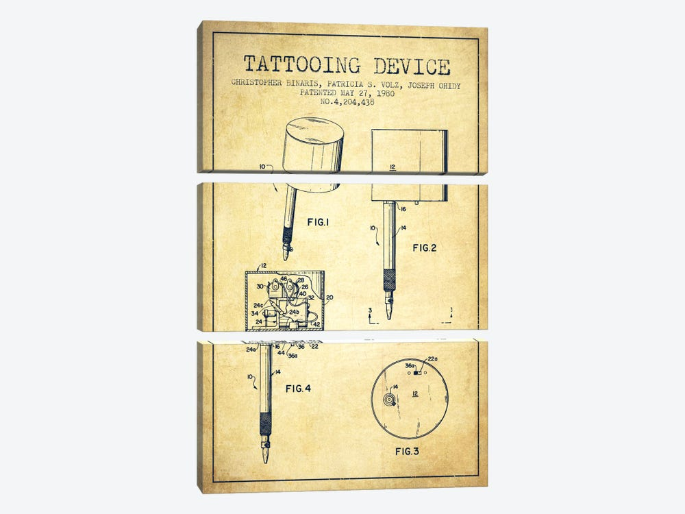 Tattoo Device 2 Vintage Patent Blueprint by Aged Pixel 3-piece Canvas Art Print