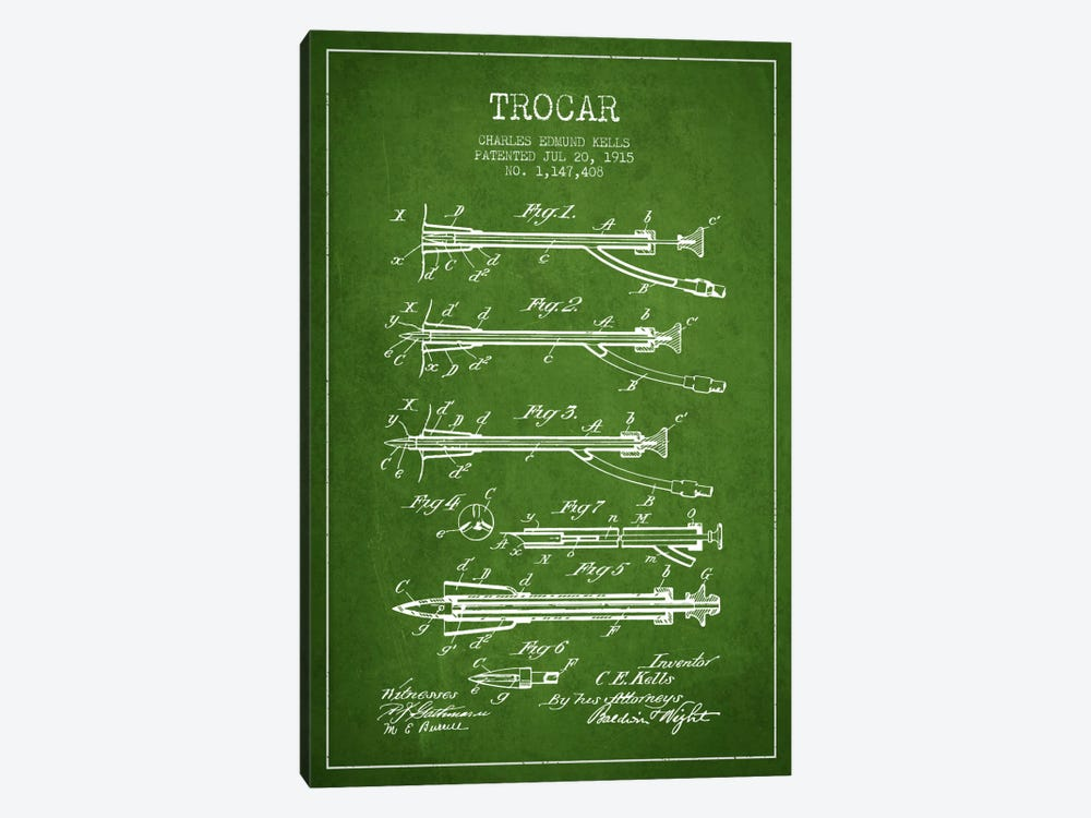 Trocar Green Patent Blueprint by Aged Pixel 1-piece Canvas Wall Art