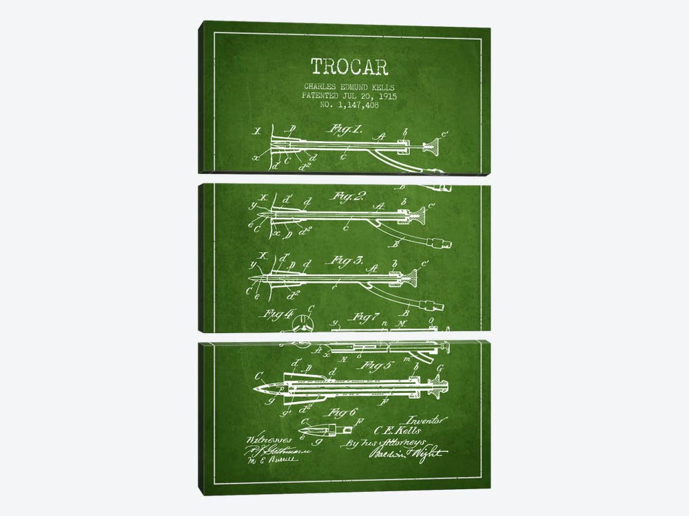 Trocar Green Patent Blueprint by Aged Pixel 3-piece Canvas Art