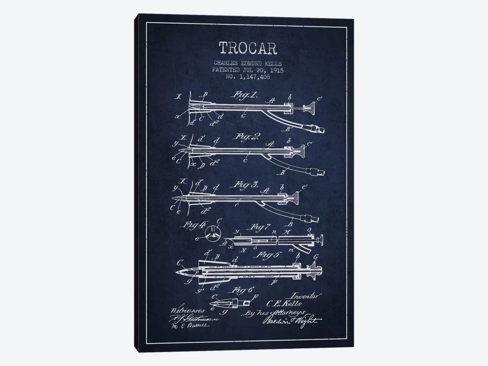 Trocar Navy Blue Patent Blueprint by Aged Pixel 1-piece Canvas Art Print