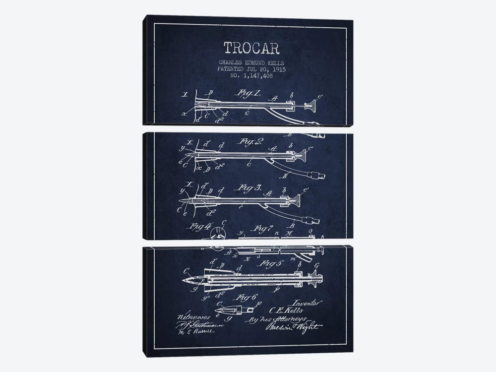 Trocar Navy Blue Patent Blueprint by Aged Pixel 3-piece Art Print
