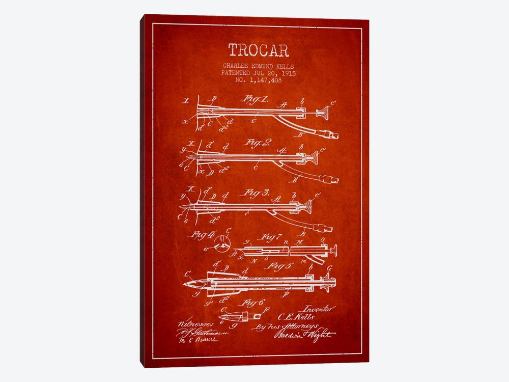 Trocar Red Patent Blueprint by Aged Pixel 1-piece Canvas Art
