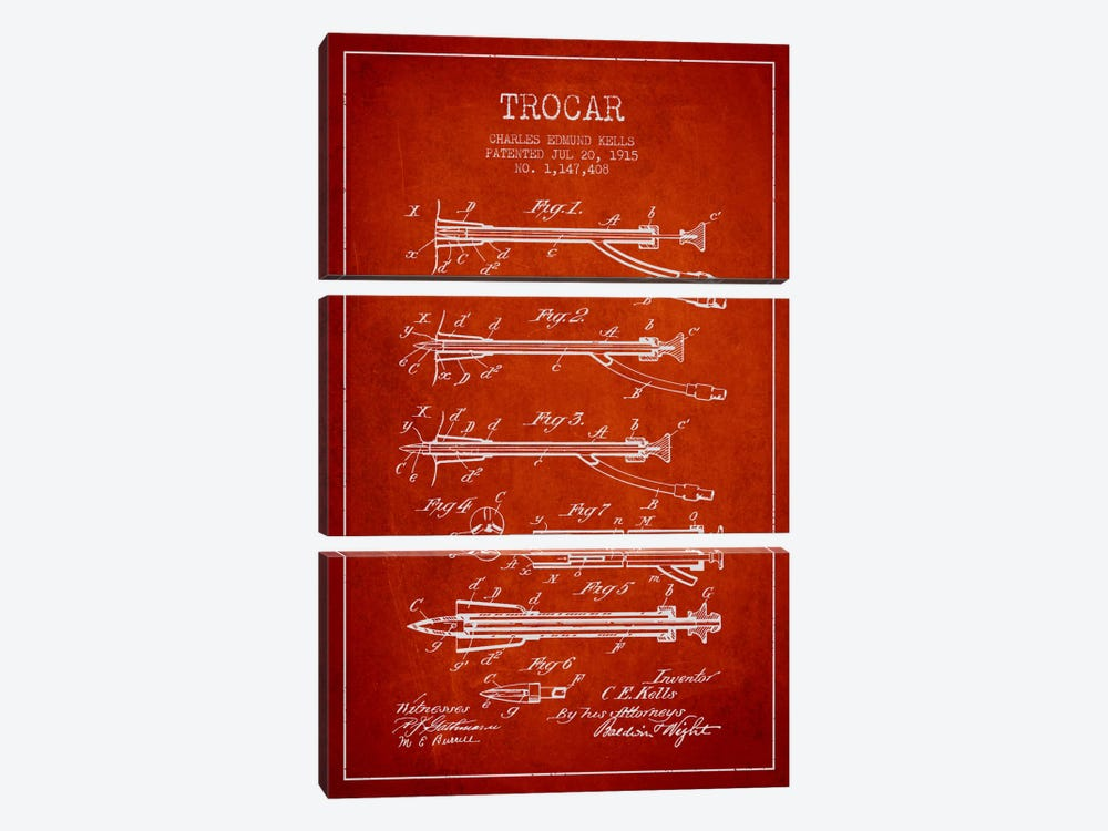 Trocar Red Patent Blueprint by Aged Pixel 3-piece Canvas Art
