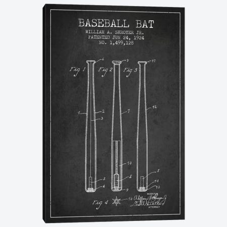 Baseball Bat Charcoal Patent Blueprint Canvas Print #ADP2015} by Aged Pixel Canvas Artwork