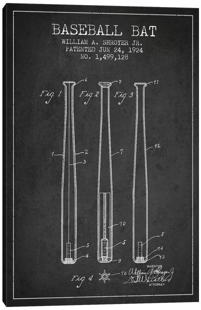 Baseball Bat Charcoal Patent Blueprint Canvas Art Print