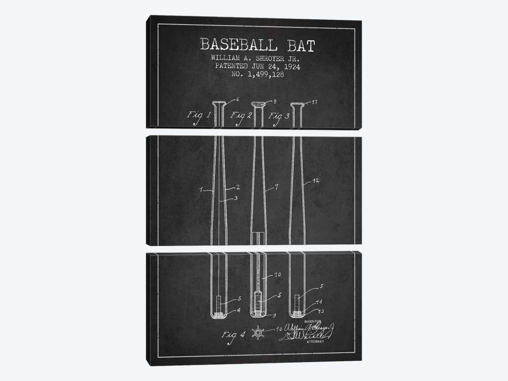 Baseball Bat Charcoal Patent Blueprint by Aged Pixel 3-piece Canvas Wall Art