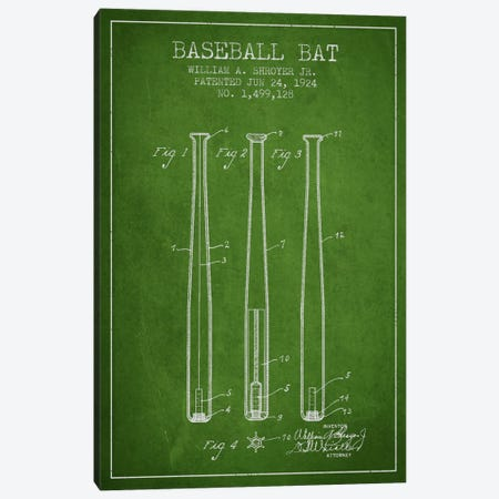 Baseball Bat Green Patent Blueprint Canvas Print #ADP2016} by Aged Pixel Canvas Artwork