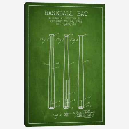 Baseball Bat Green Patent Blueprint Canvas Print #ADP2016} by Aged Pixel Canvas Artwork