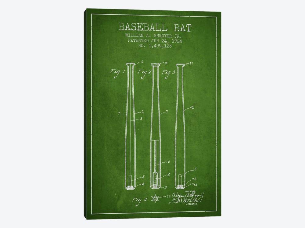 Baseball Bat Green Patent Blueprint by Aged Pixel 1-piece Canvas Art Print