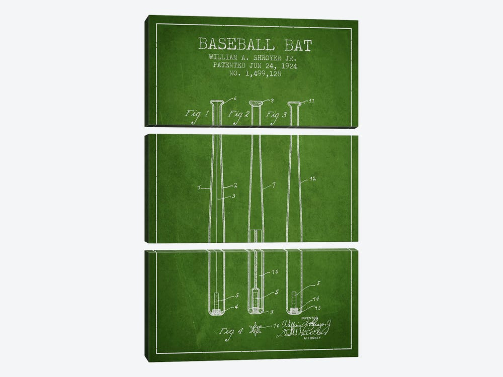 Baseball Bat Green Patent Blueprint by Aged Pixel 3-piece Art Print
