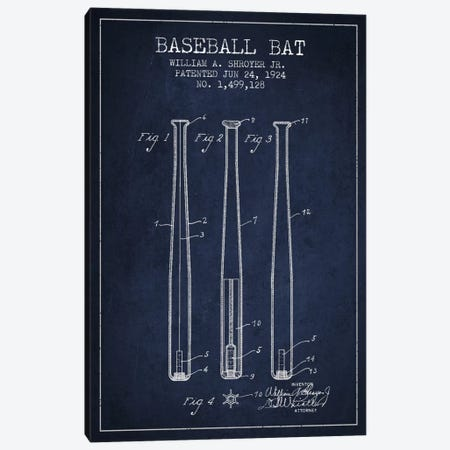 Baseball Bat Navy Blue Patent Blueprint Canvas Print #ADP2017} by Aged Pixel Canvas Wall Art