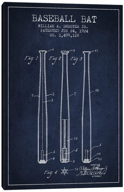 Baseball Bat Navy Blue Patent Blueprint Canvas Art Print
